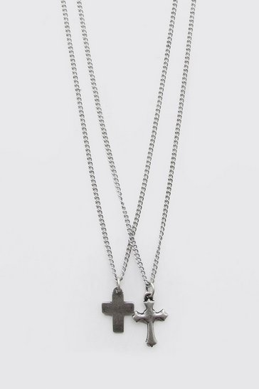 Silver Double Layer Cross Pendant Necklace