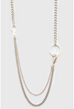 Gold metallic Double Layer Chain Pendant