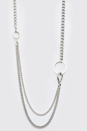 Silver Double Layer Chain Pendant