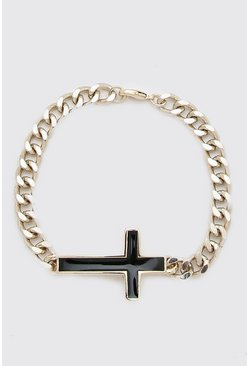 Gold Chain Bracelet With Cross Detail