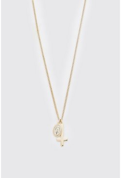 Gold Cross And Coin Pendant Necklace
