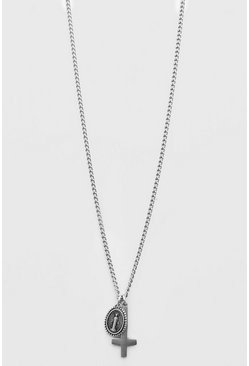 Silver Cross And Coin Pendant Necklace