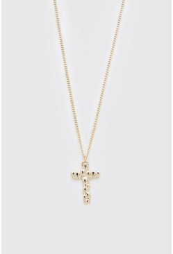 Gold metallic Cross Pendant Necklace With Skulls