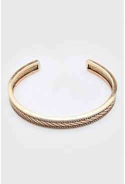 Gold Embossed Cuff Bracelet