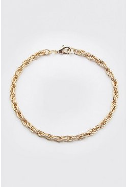 Gold metallic Twisted Chain Bracelet