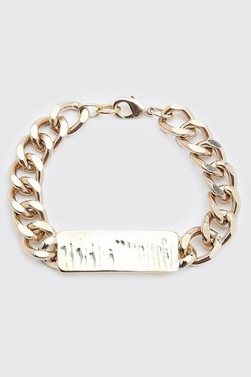 Gold metallic Chunky Chain ID Bracelet