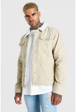Ecru white Cord Jacket With Borg Collar