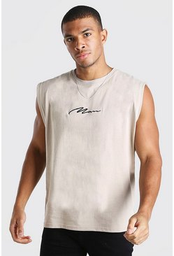 Natural MAN Signature Embroidered Sleeveless T-Shirt