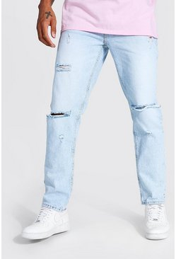 Ice blue Straight Leg Busted Knee Jean