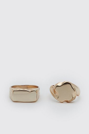 Gold metallic 2 Pack Signet Ring Set