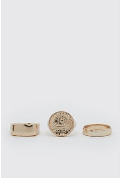 Gold 3 Pack Textured Signet Ring Set
