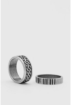 Silver 2 Pack Ring Set