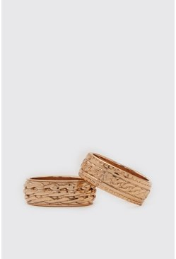 Gold metallic 2 Pack Textured Ring Set