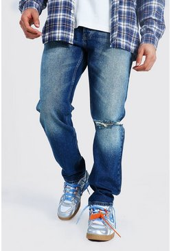 Vintage blue blue Straight Leg Busted Knee Jean