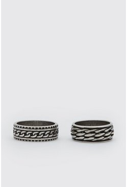 Silver 2 Pack Textured Ring Set