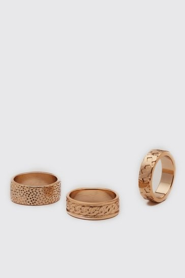 Gold metallic 3 Pack Textured Ring Set