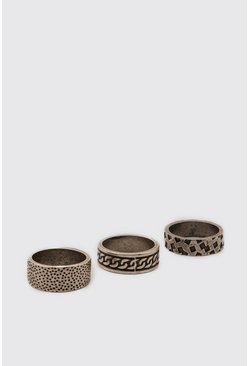 Silver 3 Pack Textured Ring Set