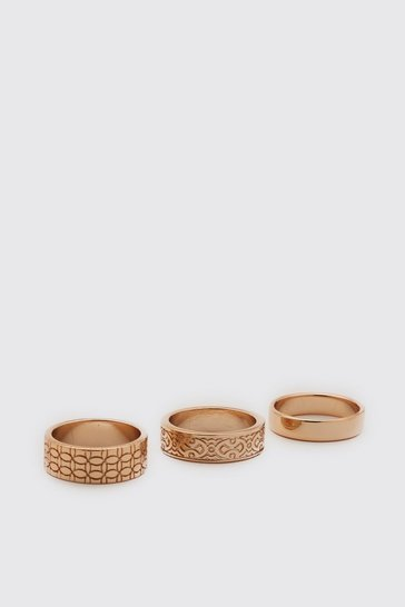 Gold metallic 3 Pack Ring Set