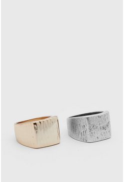 Multi 2 Pack Embossed Signet Ring Set