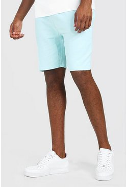 Pale blue blå Mid Length Acid Wash Jersey Short