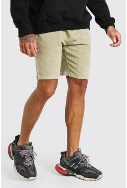 Sage grön Mid Length Acid Wash Jersey Short