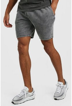 Dark grey grey Mid Length Acid Wash Jersey Short