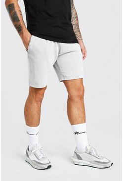 Light grey grey Mid Length Acid Wash Jersey Short