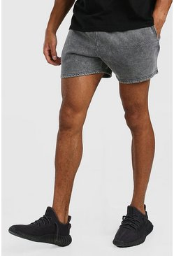 Dark grey grey Short Length Acid Wash Jersey Short
