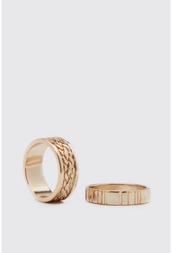 Gold metallic 2 Pack Ring Set