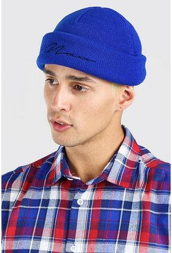 Bright blue blue MAN Script Mini Beanie