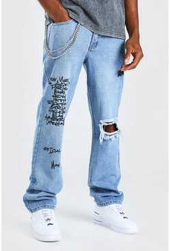 Light blue blue Relaxed Rigid Jean With Text Print And Chain