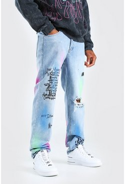 Light blue blue Relaxed Fit Graffiti Print Chain Jean