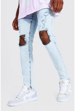 Ice blue Skinny Stretch Busted Knee Distressed Jean