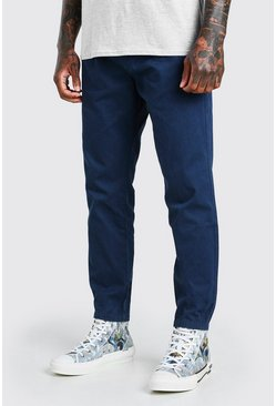 Navy Elastic Waist Skinny Fit Chino Trouser With Cuff