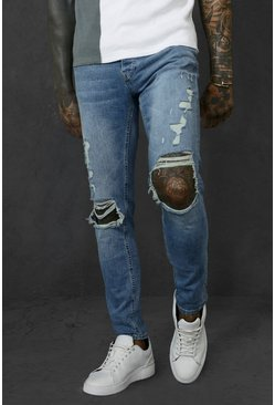 Vintage blue Skinny Stretch Busted Knee Distressed Jean