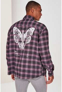 Pink MAN Official Butterfly Print Check Shirt