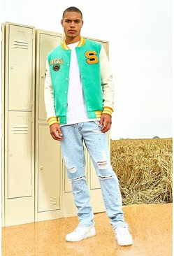 Green Badge Contrast Sleeved Varsity Jacket