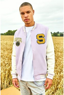 Lilac Badge Contrast Sleeved Varsity Jacket