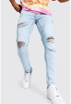 Ice blue Skinny Stretch Rip & Repair Jean