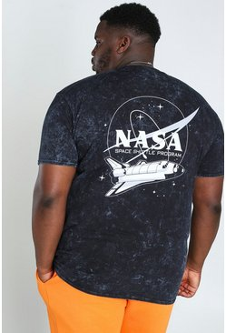 Charcoal grey Big And Tall NASA Acid Wash License T-Shirt