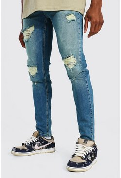 Vintage blue blue Skinny Stretch Rip And Repair Jean