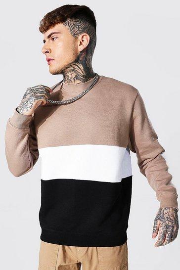 Taupe beige Colour Block Sweatshirt