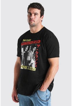 T-shirt Big and Tall ufficiale dei Clash, Nero