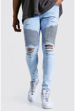 Ice blue Super Skinny Multi Rip Biker Jean