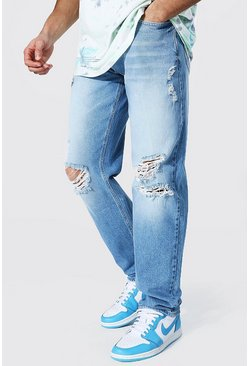 Mid blue blue Relaxed Fit Jean With Knee Rips