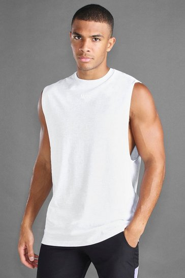 Ecru white MAN Loose Fit Drop Arm Hole Tank