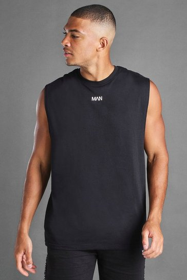 Black MAN Loose Fit Drop Arm Hole Tank