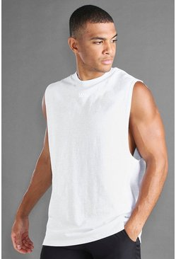 Ecru white MAN Loose Fit Drop Arm Hole Side Panel Tank