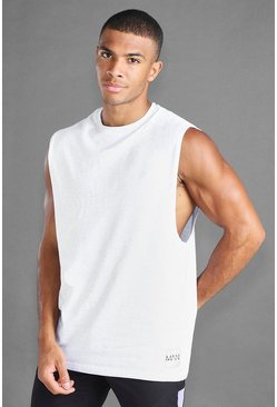 Ecru white MAN Loose Fit Tank With Man Branded Tab