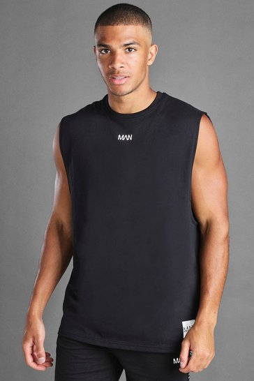 Black MAN Loose Fit Tank With Man Branded Tab